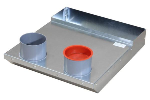 Ansicht von oben Luftanschlusskasten zur Montage der Zu- und Abluftgitter, Maße 308 x 64,5 x 370 mm, 2 x DN75 mm, Wand - Selfio