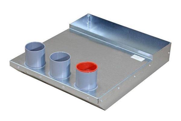 Ansicht Luftanschlusskasten zur Montage der Zu- und Abluftgitter, Maße 305 x 102 x 460 mm, 3 x DN50 mm, Wand - Selfio
