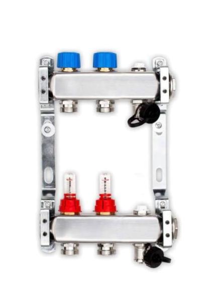Heizkreisverteiler für Fußbodenheizung, 2 Heizkreise 100401HV-2