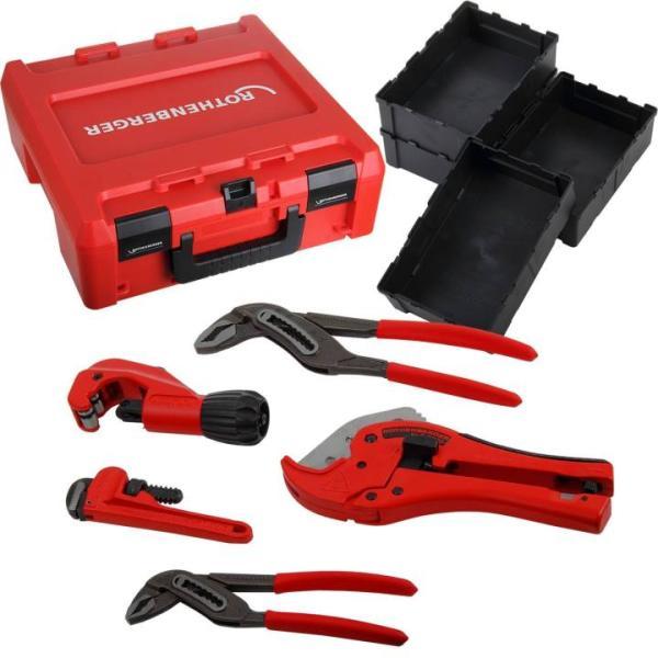 Rothenberger Werkzeug-Set (5 tlg.) im ROCASE-Werkzeugkoffer inkl. Zubehör, Jubiläums-Set