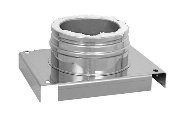 Grundplatte für Wandmontage Edelstahl Schornstein doppelwandig Ablauf unten DN 100