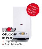 Wolf Gas-Heizwert-Kombitherme CGU-2K, 18 kW inkl. Regelung und Anschluss-Set Erdgas E   Raumtemperaturregler ART   Anschluss-Set Aufputzmontage