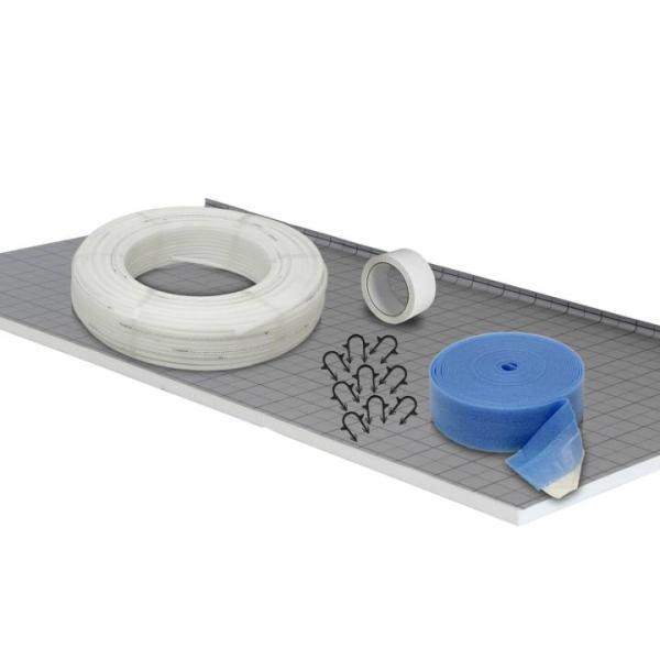Fußbodenheizung Tackersystem 20 mm - PE-RT Rohr - Verlegeabstand 15 cm Basis Set 10 m² - Lieferumfang: Tacker-Faltplatte 30 mm, PE-RT Rohr, Tackernadeln, Randdämmstreifen, PE-Klebeband | Selfio