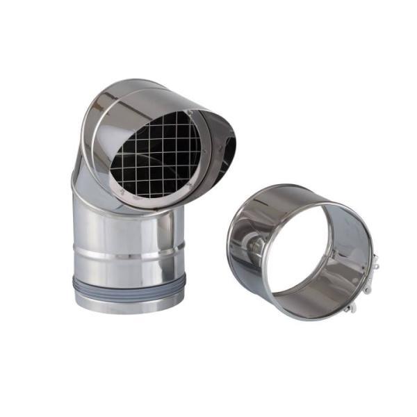 Lieferumfang Zehnder ComfoVent 150 Außenluftbogen 90 Grad mit Schutzgitter komplett aus Edelstahl Selfio
