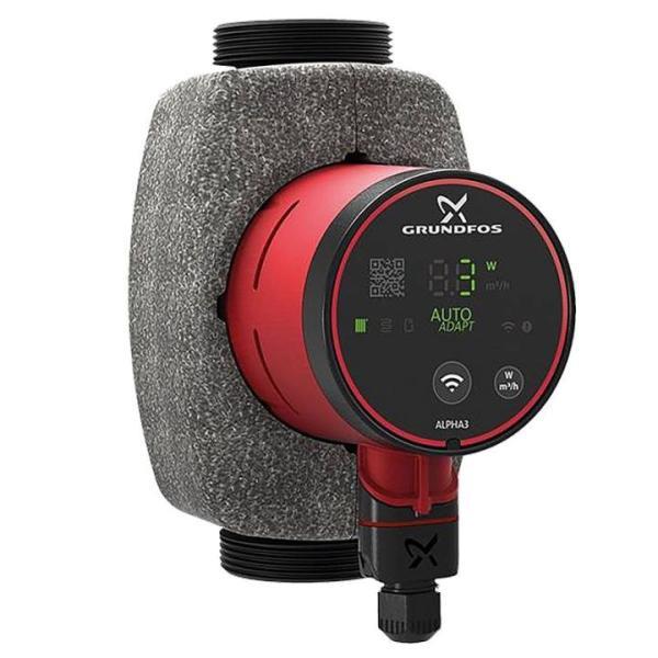 Grundfos Alpha3 32-80 180 mm Hocheffizienz-Umwälzpumpe inkl. Wärmedämmschale Frontansicht