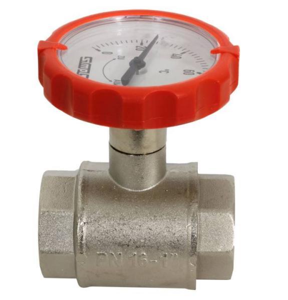 Muffen-Kugelhahn PN 16, G 1 Zoll mit rundem Thermometergriff (rot, Ø 63 mm) - F10125 Selfio