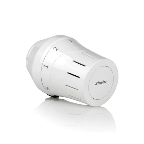 Komplettansicht Simplex Design-Thermostatkopf TC-E1 Gewindeanschluss Selfio