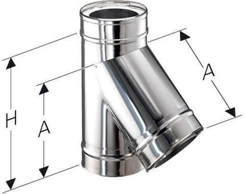 Schornstein T-Stück Feuerungsanschluss 45 Grad Edelstahl DW DN 100 Maße