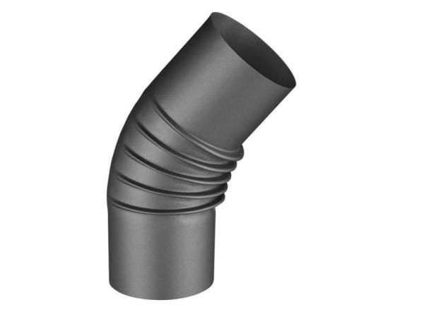Rauchrohr-Knie 45°, anthrazit, Ø 80 mm Frontansicht - Selfio