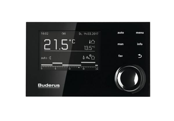 Buderus System-Bedieneinheit RC310 mit Außenfühler Schwarz Frontansicht - 7738112309 Selfio