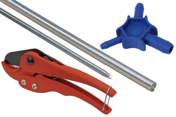 4-teiliges Komplettset für Alu-Verbundrohr 16 x 2 mm - 3-Finger Kalibrierer / Entgrater für Verbund- & Kunststoffrohr, Rohrschneidescher/-zange, Biegefeder außen für 16 mm Verbundrohr und Biegefeder innen für 16 mm Verbundrohr