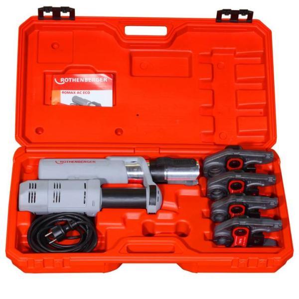 Rothenberger elektrohydraulische Fitting - Pressmaschine ROMAX AC ECO Presskontur \TH\ Set mit Pressbacken - im Koffer