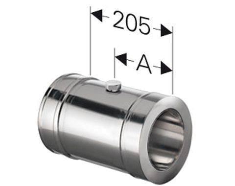 Schornstein Längenelement 205 mm mit Messöffnung Edelstahl DW DN 100