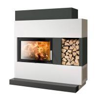 Haas+Sohn Kaminbausatz ADONIS-II Komplettansicht mit Feuerstelle und Holzlagerfach