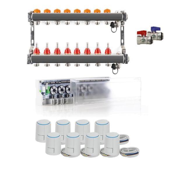 Heizkreisverteiler Komplettset PREMIUM PLUS mit Anschlussleiste, Kugelhahn und Stellantrieb