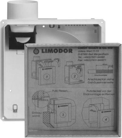 LIMODOR Einbaukasten für Lüfterserie compact II-AS mit Nebenraumanschluss Selfio