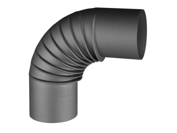 Rauchrohr-Knie 90°, anthrazit, Ø 80 mm Frontansicht - 110408901 Selfio