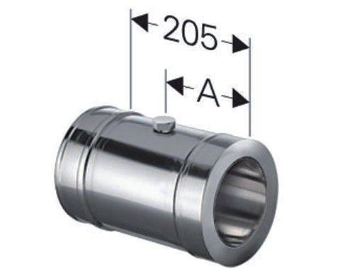 Schornstein Längenelement 205 mm inkl. Messöffnung Edelstahl DW DN 130