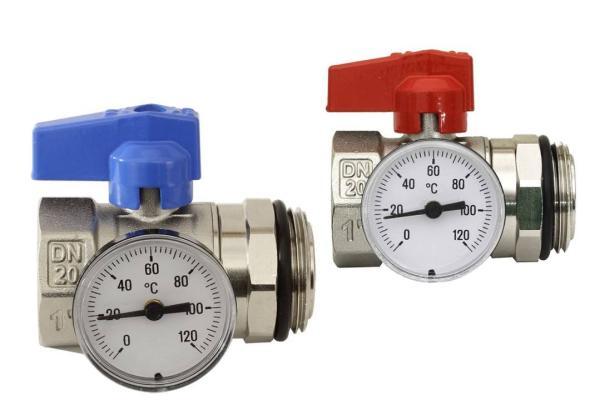 Kugelhahn-Anschluss-Set PREMIUM für Heizkreisverteiler mit Thermometer