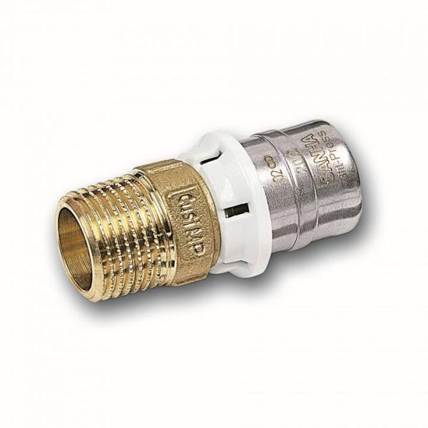 SANHA Pressfitting Übergangsnippel mit AG 16 mm x 1/2 Zoll