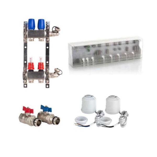 Heizkreisverteiler Komplettset BASIC mit Anschlussleiste, Kugelhahn und Stellantrieb