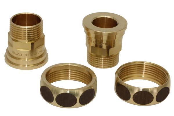 Pumpenverschraubungs-Set aus Messing, DN 25 AG 1 Zoll x DN 40 IG 1 1/2 Zoll Komplettset