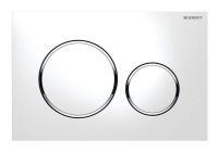GEBERIT Betätigungsplatte SIGMA20 für 2-Mengen-Spülung, weiß / glanzchrom, Ansicht Vorderseite - Selfio