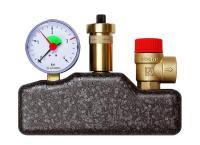 Afriso Kesselsicherungsgruppe KSG 3 bar mit Isolierung Frontansicht mit Manometer , Schnellentlüfter und Anschluss