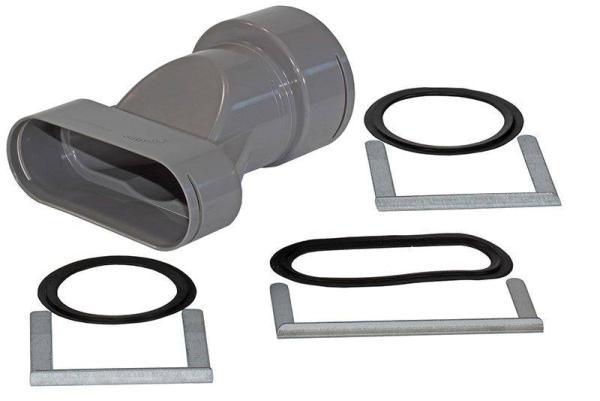 Zehnder Übergang für DN 90/75 auf Flat 51 mit drei Metallklammern und drei Ringdichtungen - Selfio