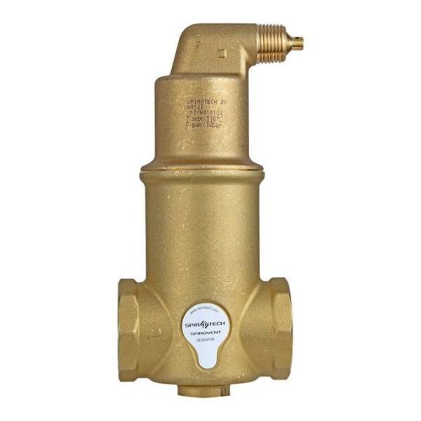 SpiroTech Mikro-Luftblasenabscheider SpiroVent AA125 1 ¼ Zoll Seitenansicht mit Verschraubungsanschluss und Entlüfter
