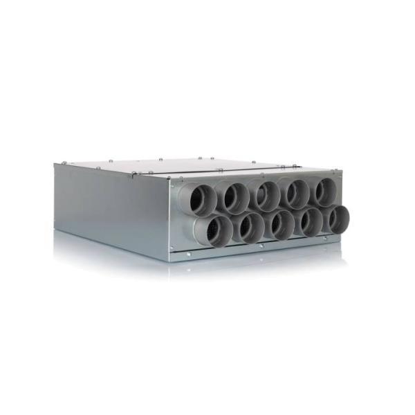 Luftverteiler 10x DN75 für Kunststoff-Flexkanal mit Schalldämpfer DN160 - Selfio